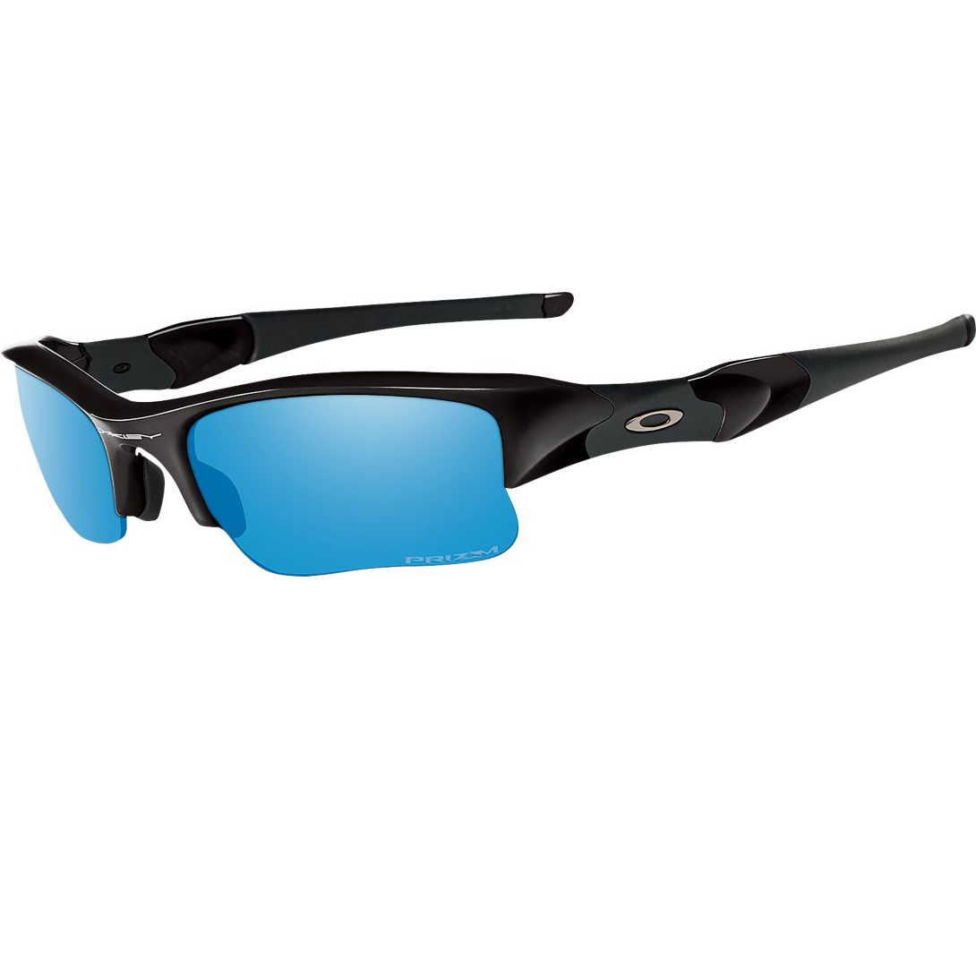 bcc0d837cd0 Oakley® Flak Jacket® XLJ Polarized Sunglasses Prizm Deep H2O Lenses Polished  Black Frames - OpticsandAmmo.com