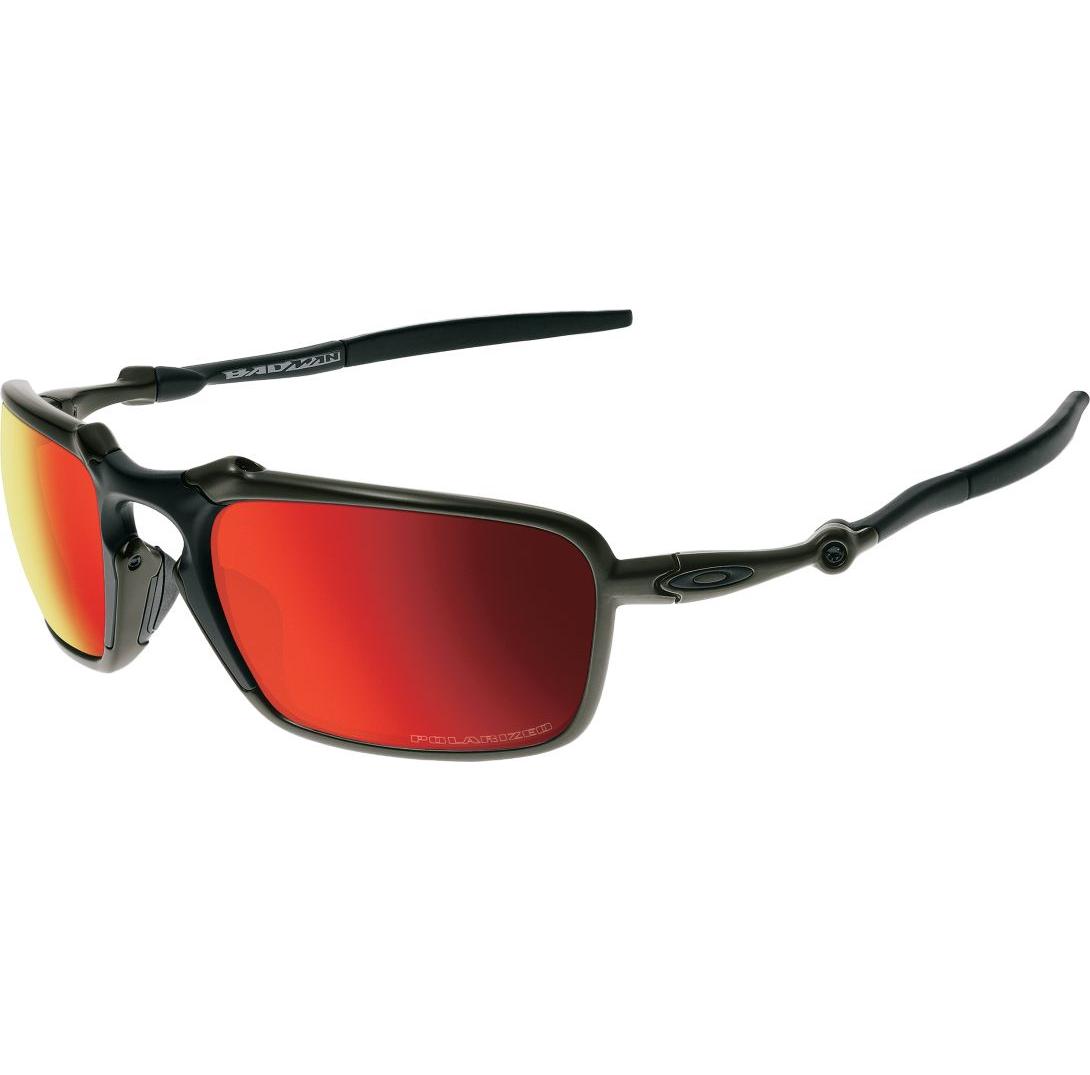 51efc1189e Oakley® Badman Polarized Sunglasses Ruby Iridium Lenses Dark Carbon Frames  - OpticsandAmmo.com