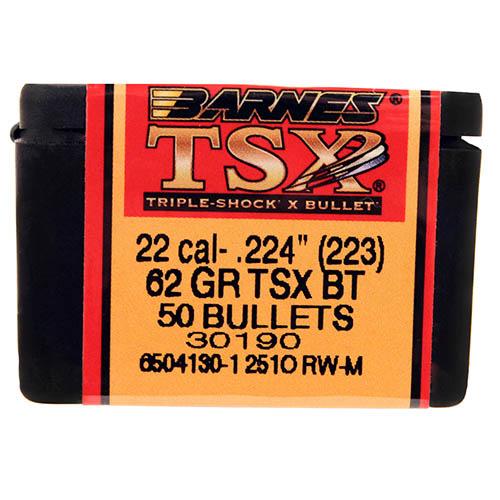 "Barnes Bullets 22460 223 Cal.224"" 62gr TSX BT /50 Mfg# 30190"