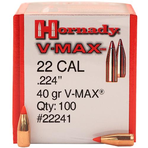 Hornady 22 Cal .224 40gr VMAX /100 Mfg# 22241
