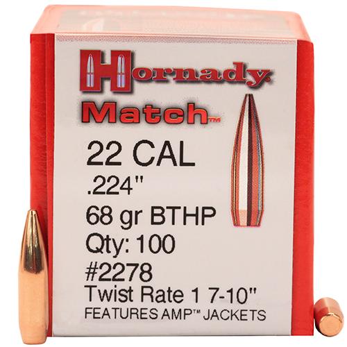 Hornady 22 Cal .224 68gr BTHP Match /100 Mfg# 2278