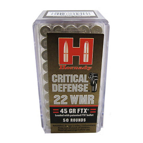 Hornady 22 WMR 45gr FTX Crit-Defense /50 Mfg# 83200