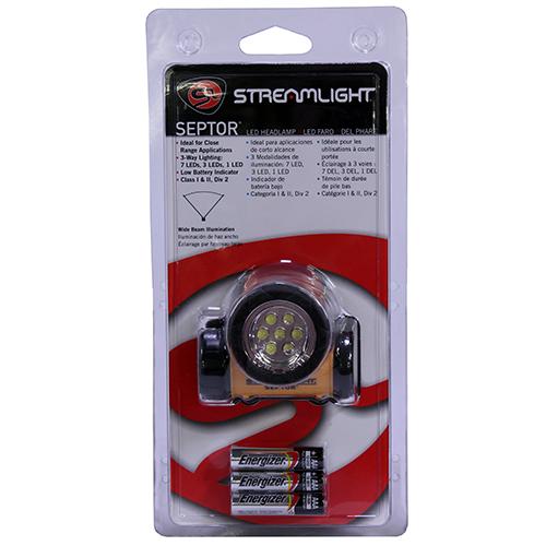 Streamlight Septor Yellow w/Elastic&Rubbr Str Mfg# 61052