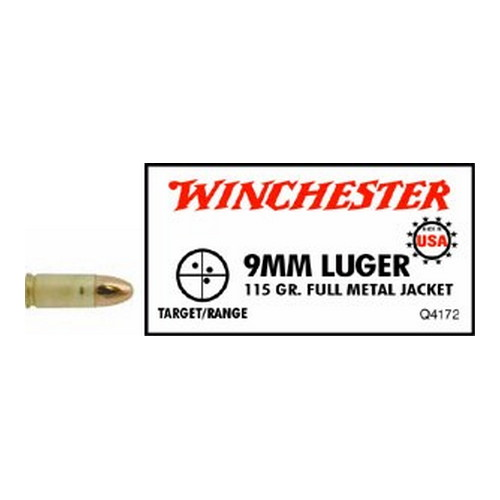 Winchester Ammo 9mm Luger 115Gr. FMJ USA /50 Mfg# Q4172