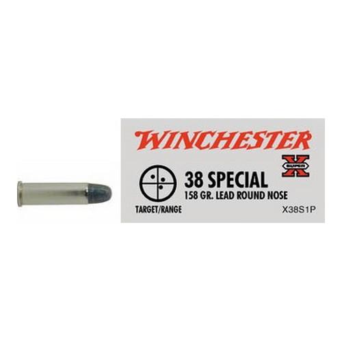 Winchester Ammo SupX 38 Spl 158gr Lead Round Nose Mfg# X38S1P