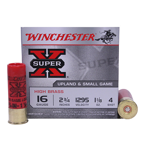 "Winchester Ammo SupX 16ga 2.75"" 4-Shot HiBrassGam Mfg# X16H4"