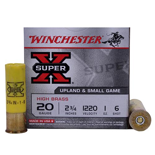 """Winchester Ammo SupX 20ga 2.75"""" 6-Shot HiBrassGam Mfg# X206"""