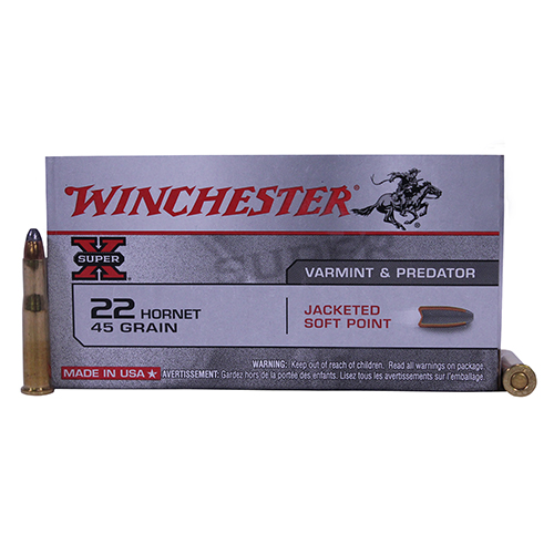Winchester Ammo SupX 22 Hornet 45gr SP Super X/50 Mfg# X22H1