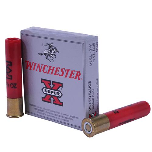 """Winchester Ammo SupX 410ga 2.5"""" 1/5oz Rifled Slug Mfg# X41RS5"""