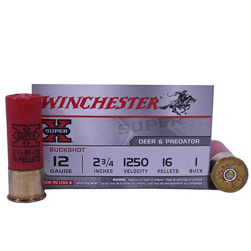 "Winchester Ammo SupX 12ga 1-Buck 2.75"" BuckShot/5 Mfg# XB121"