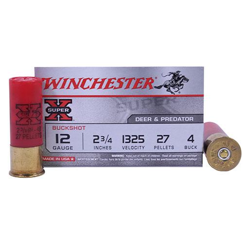 "Winchester Ammo SupX 12ga 4-Buck 2.75"" BuckShot/5 Mfg# XB124"