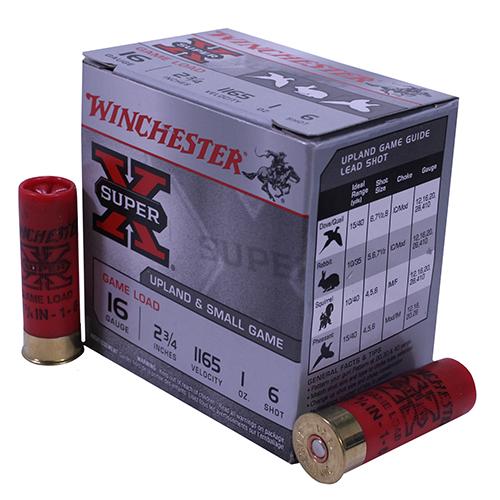 "Winchester Ammo SupX 16ga 2.75"" 6-Shot GamLoad/25 Mfg# XU166"