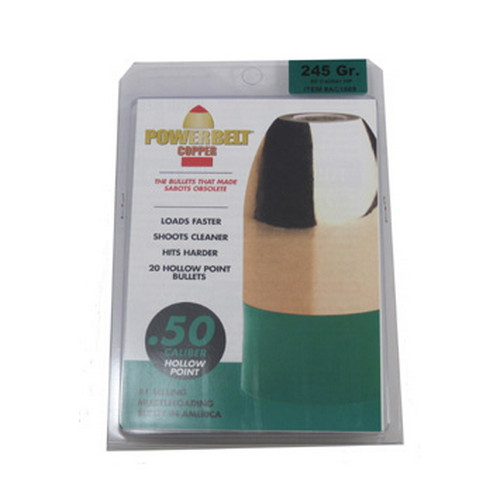 Powerbelt Bullets PowerBelt 20 pk .50Cal 245gr Copper, HP Mfg# AC1589