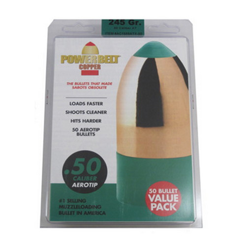 Powerbelt Bullets PowerBelt 50pk 50Cal 245gr Copper AeroTip Mfg# AC1589ATX-50