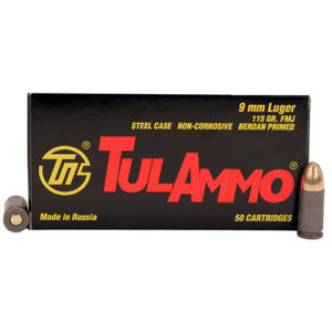 Tulammo 9mm 115gr FMJ Steel Case /50 Mfg# TA919150